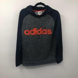 Adidas Boys Athletic Pullover Hoodie Orange Navy